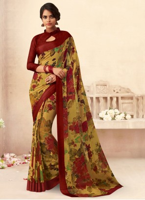 Multi Colour Floral Print Faux Chiffon Saree