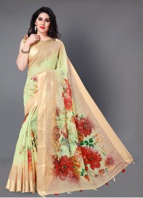 Multi Colour Floral Print Trendy Saree