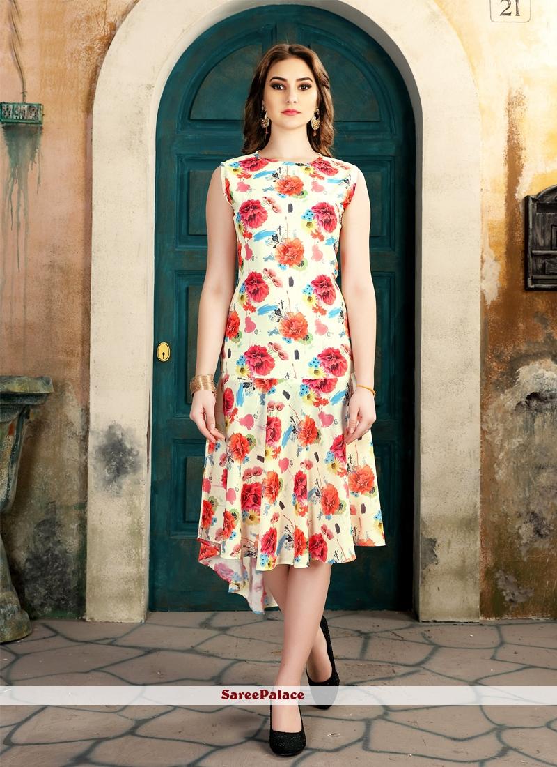 Multi Colour Floral Print Work Fancy Fabric Party Wear Kurti
