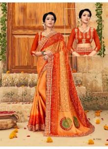 Multi Colour Foil Print Faux Chiffon Classic Saree