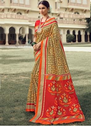 Multi Colour Foil Print Traditional Designer Saree