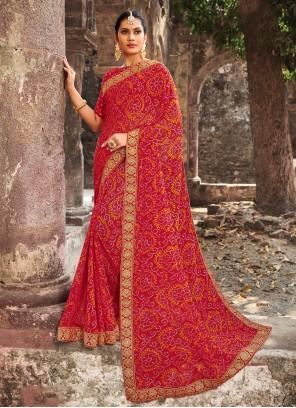 Multi Colour Georgette Classic Designer Saree