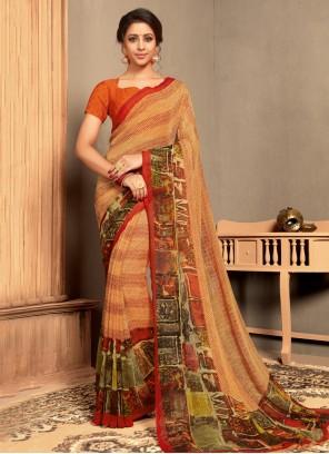 Multi Colour Georgette Classic Saree