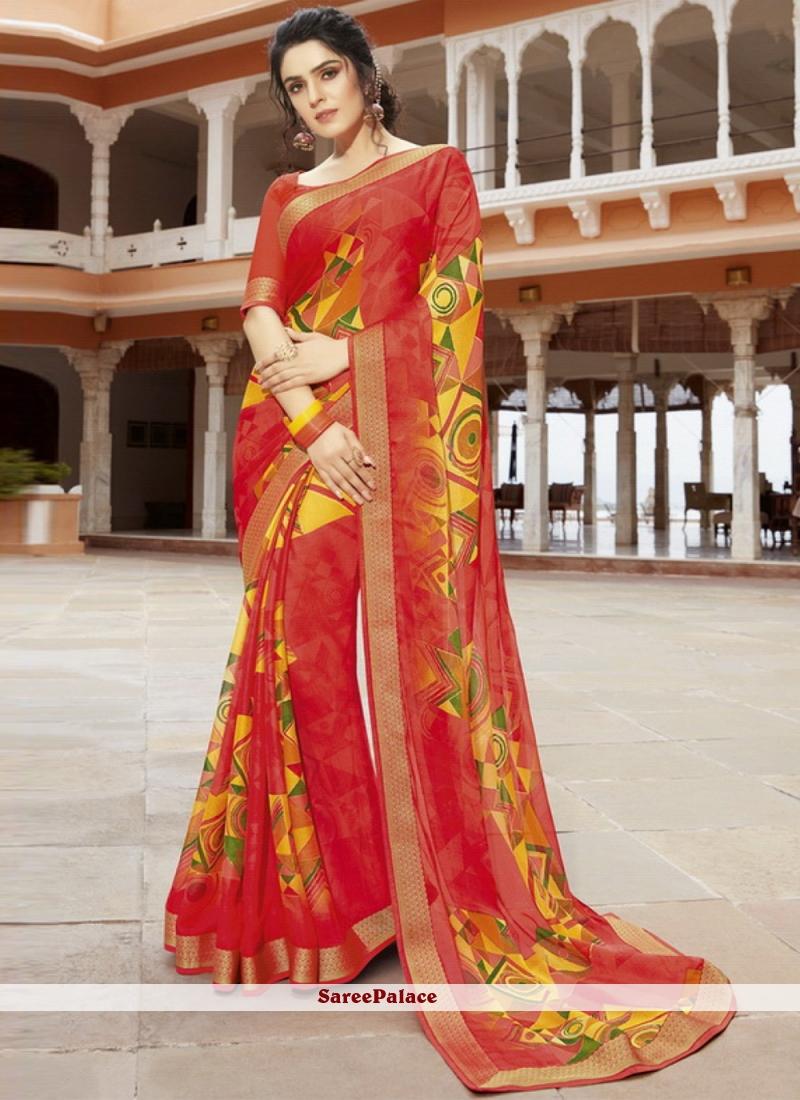 Multi Colour Georgette Printed Classic Saree
