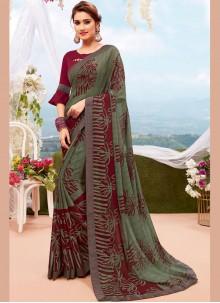 Multi Colour Georgette Printed Saree