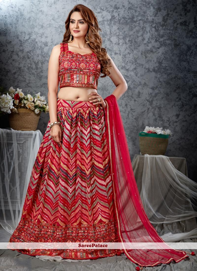 Multi Colour Georgette Readymade Lehenga Choli