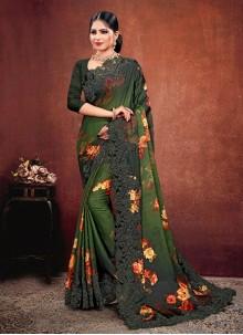 Multi Colour Georgette Satin Classic Saree