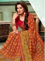 Multi Colour Georgette Traditional Saree