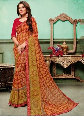 Multi Colour Georgette Traditional Saree