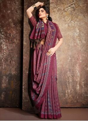 Multi Colour Handloom silk Digital Print Classic Saree