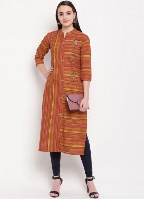 Multi Colour Handwork Cotton Casual Kurti