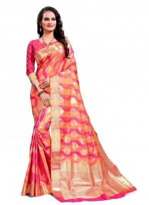 Multi Colour Jacquard Silk Classic Saree