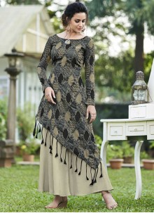 Multi Colour Jacquard Silk Print Designer Gown