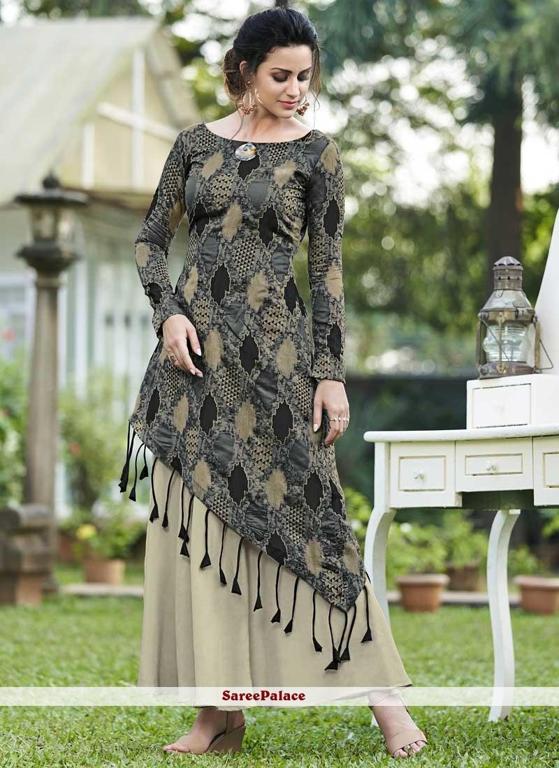 Multi Colour Jacquard Silk Print Designer Gown