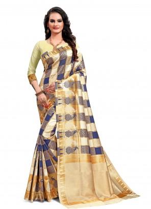 Multi Colour Jacquard Silk Weaving Casual Saree