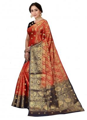 Multi Colour Kanjivaram Silk Weaving Designer Saree