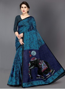 Multi Colour Khadi Silk Contemporary Saree