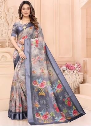 Multi Colour Linen Abstract Print Casual Saree