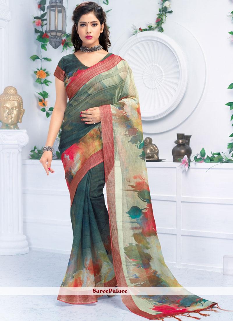 Multi Colour Linen Abstract Printed Saree