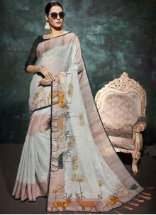 Multi Colour Linen Abstract Print Printed Saree