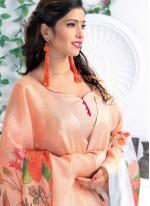 Multi Colour Linen Casual Printed Saree