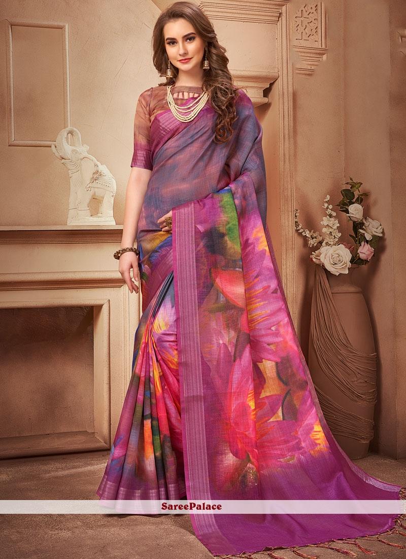 Multi Colour Linen Casual Saree