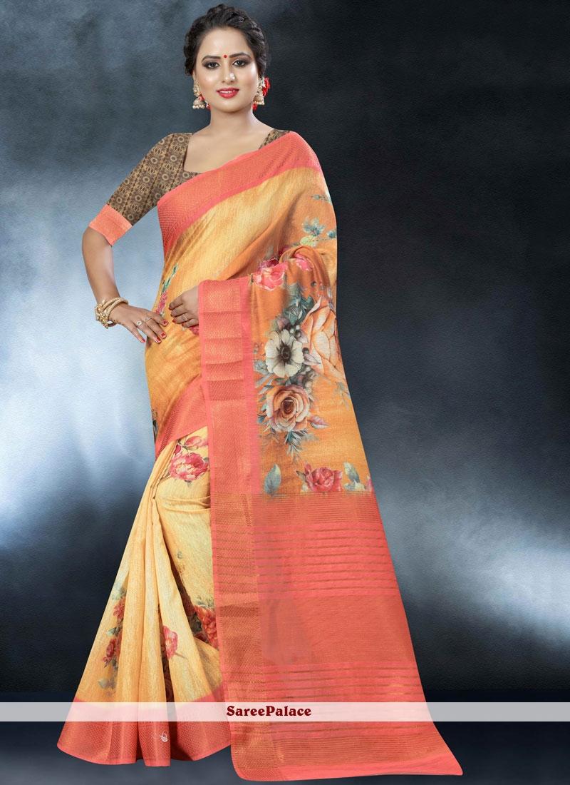 Multi Colour Linen Classic Designer Saree