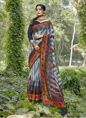 Multi Colour Linen Printed Saree