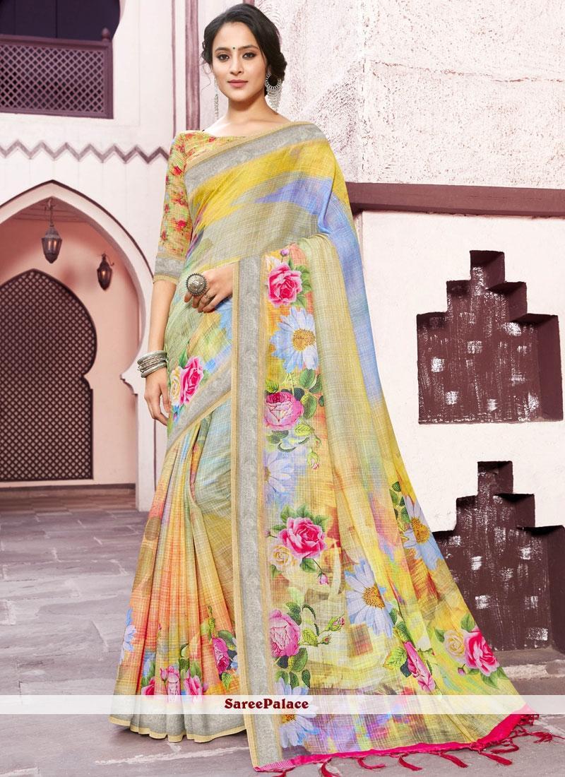 Multi Colour Linen Trendy Saree