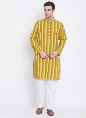 Multi Colour Mehndi Cotton Kurta Pyjama