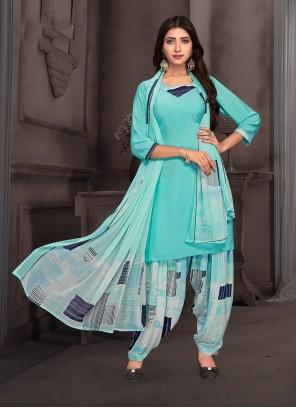 Multi Colour Mehndi Crepe Silk Punjabi Suit