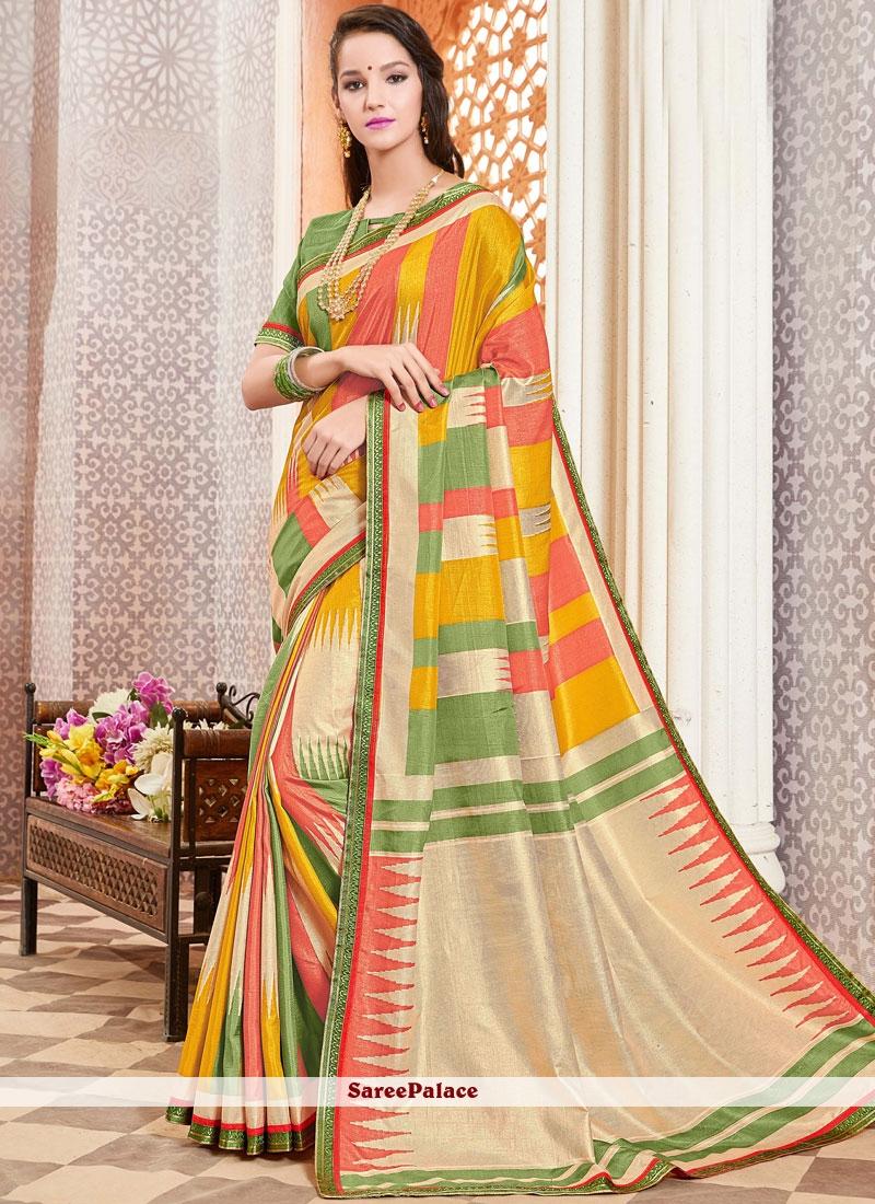 Multi Colour Mehndi Silk Traditional Designer Saree