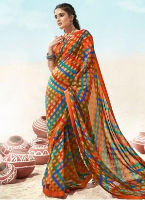 Multi Colour Party Casual Saree