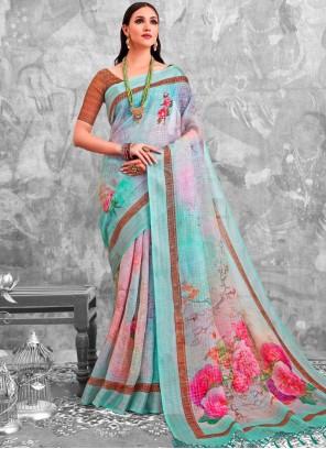 Multi Colour Party Cotton Printed Saree