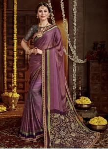 Multi Colour Party Faux Chiffon Designer Saree