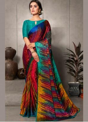 Multi Colour Party Faux Crepe Printed Saree