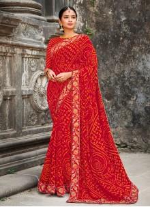 Multi Colour Party Georgette Classic Designer Saree