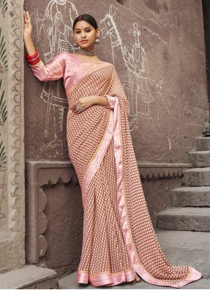 Multi Colour Abstract Print Party Printed Saree