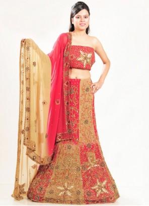 Multi Colour Patch Border Bridal Lehenga Choli