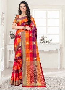 Multi Colour Poly Silk Reception Saree
