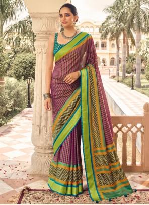 Multi Colour Print Brasso Designer Traditional Saree