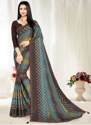 Multi Colour Print Casual Saree
