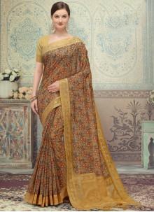 Multi Colour Print Ceremonial Designer Traditional Saree