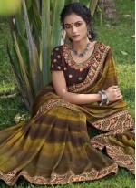 Multi Colour Print Chanderi Classic Designer Saree