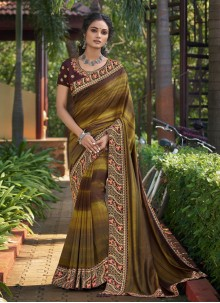Multi Colour Print Chanderi Classic Designer Saree