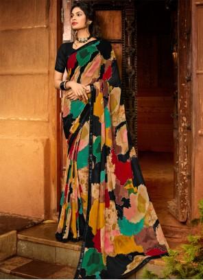 Multi Colour Print Classic Designer Saree