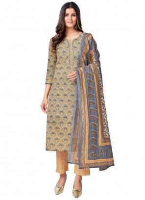 Multi Colour Print Cotton Readymade Suit