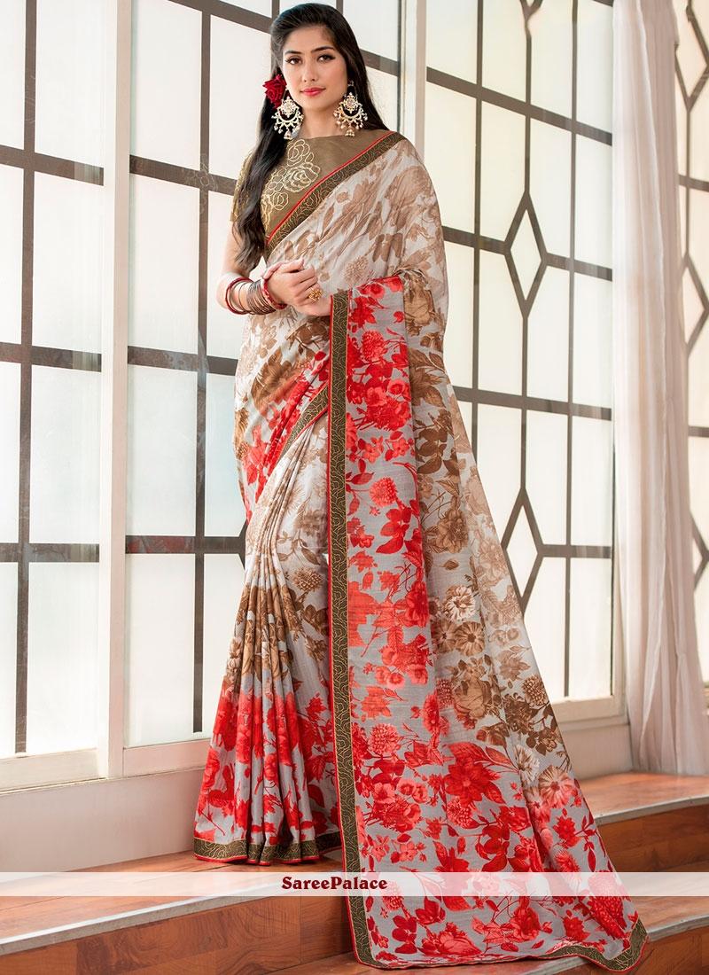 5b1f171e10 Buy Multi Colour Print Fancy Fabric Printed Saree Online