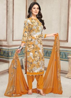 Multi Colour Print Faux Crepe Punjabi Suit