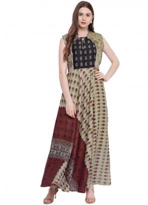 Multi Colour Print Georgette Trendy Gown